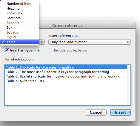 Captions, cross-references, and lists in Miscrosoft Word