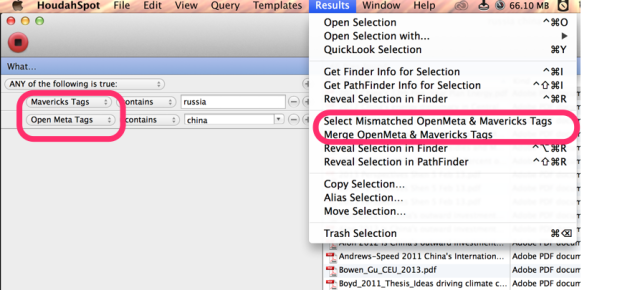 HoudahSpot ability to select OpenMeta and Mavericks Tags, compare and merge them