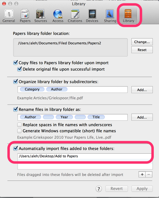 Papers 2 automatic importing