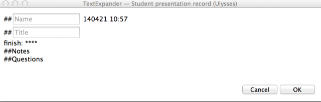 TextExpander window for recording students' presentations feedback