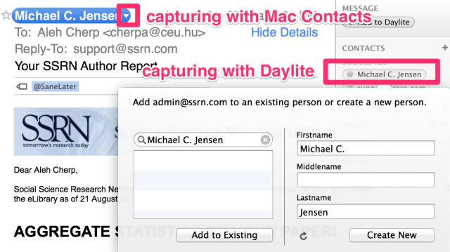 Capturing a contact from an e-mail message with Daylite Mail Assistant