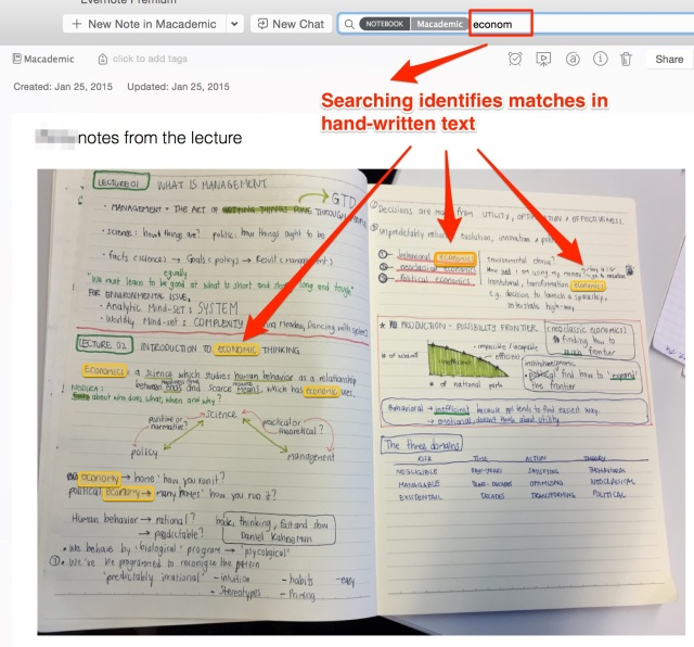 Handwritten lecture notes searched in Evernote